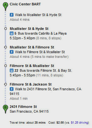 Directions from the Civic Center Bart Station.